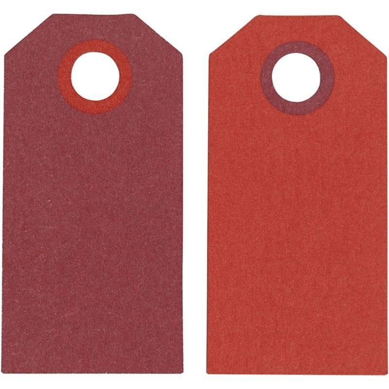 Label afmeting 3 x 6 cm 20 stuks licht/donkerrood