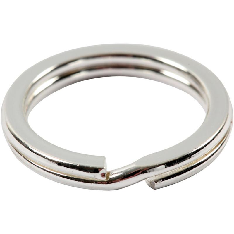 Sleutelring -splitring 15 mm platte uitvoering zilverkleur