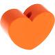 Houten kraal hart oranje effen ''babyproof''