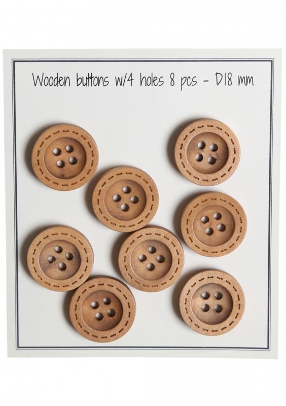 Go Handmade houten knopen met randje met streepjes - 8 stuks -18mm