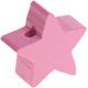 Houten kraal Mini-ster roze effen ''babyproof''