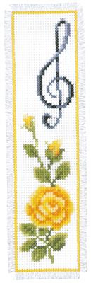 Bladwijzer Gele Roos met solsleutel aida