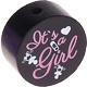 Houten kraal ''It's a Girl'' zwart ''babyproof''