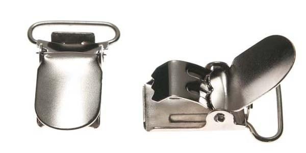 Eenvoudige Bretelclip  zilverkleurig  20 mm ronde hoeken