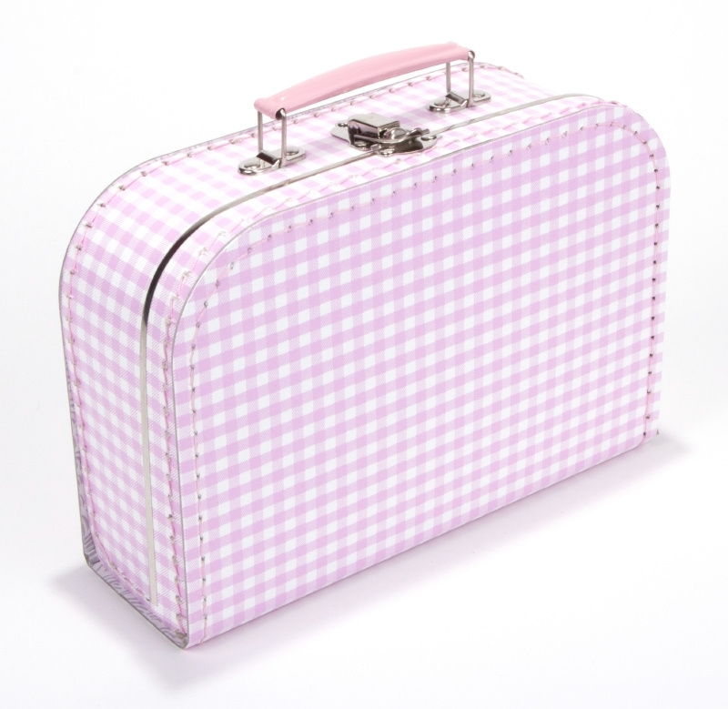 Koffertje Roze/wit ruitje 25cm