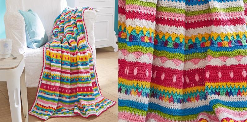 Kleurrijke gehaakte deken Craftkitchen Garenpakket