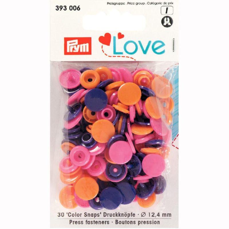 Color snaps -  Prym Love color rond 12,4mm roze, oranje en paars