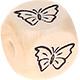 Houten Letterkraal gegraveerd 10mm -vlinder-
