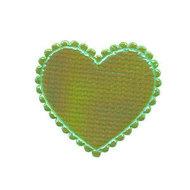 Hartje groen metallic 35 x 30 mm