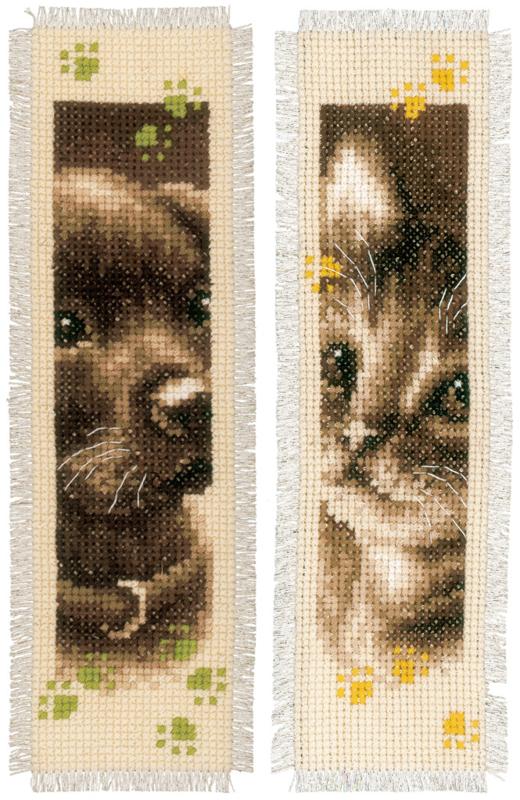 Bladwijzer Retro Hond en Poes set van 2