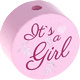 Houten kraal ''It's a Girl'' babyroze ''babyproof''