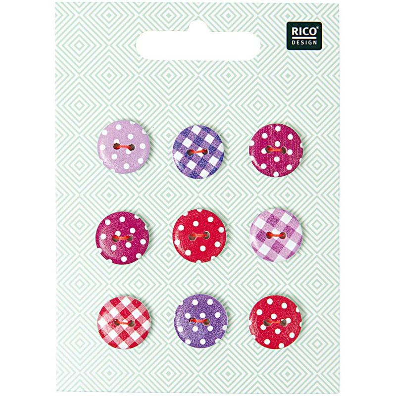 Rico houten knoopjes met stipjes  mix rood/roze