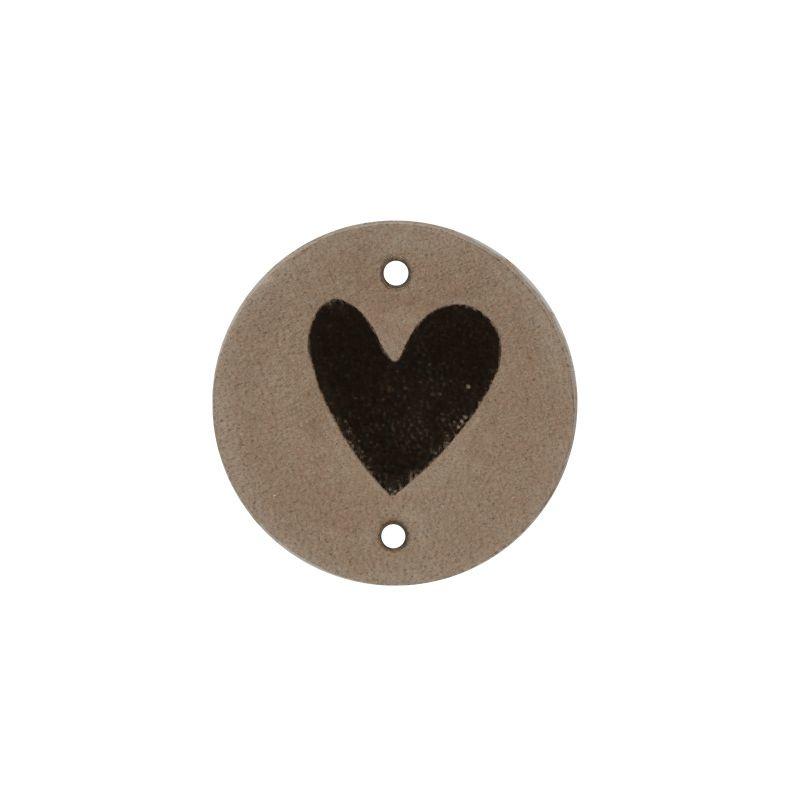Leren label Round Hart 3cm Beige