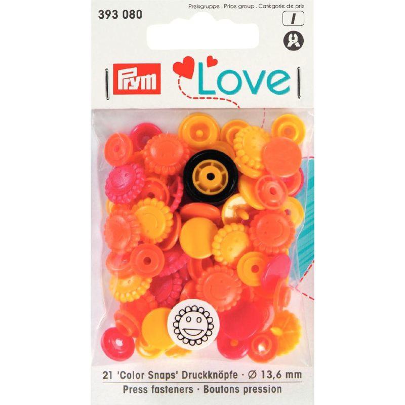 Color snaps -  Prym Love color bloem 13,6mm oranje, geel en rood