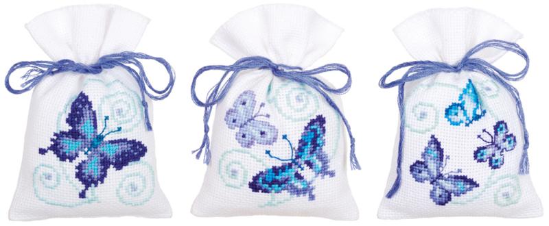 Geurzakje - kruidenzakje Blauwe vlinders  set van 3