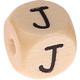 Houten Letterkraal gegraveerd 10mm  - J -