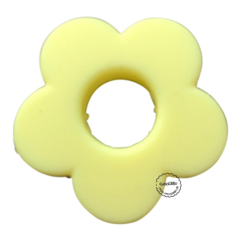 Siliconen bloem Licht Geel  28mm