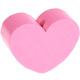 Houten kraal Mini-hart roze effen ''babyproof''
