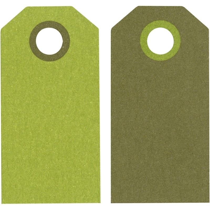 Label afmeting 3 x 6 cm 20 stuks licht/donkergroen