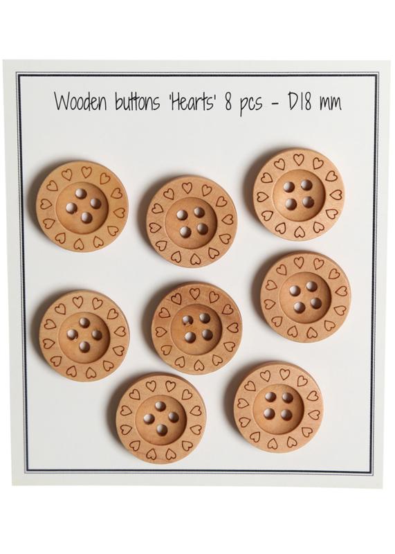 Go Handmade houten knopen met randje met hartjes - 8 stuks -18mm