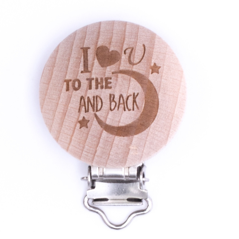 Houten speenclip houtkleurig blank met I love you to the moon and back