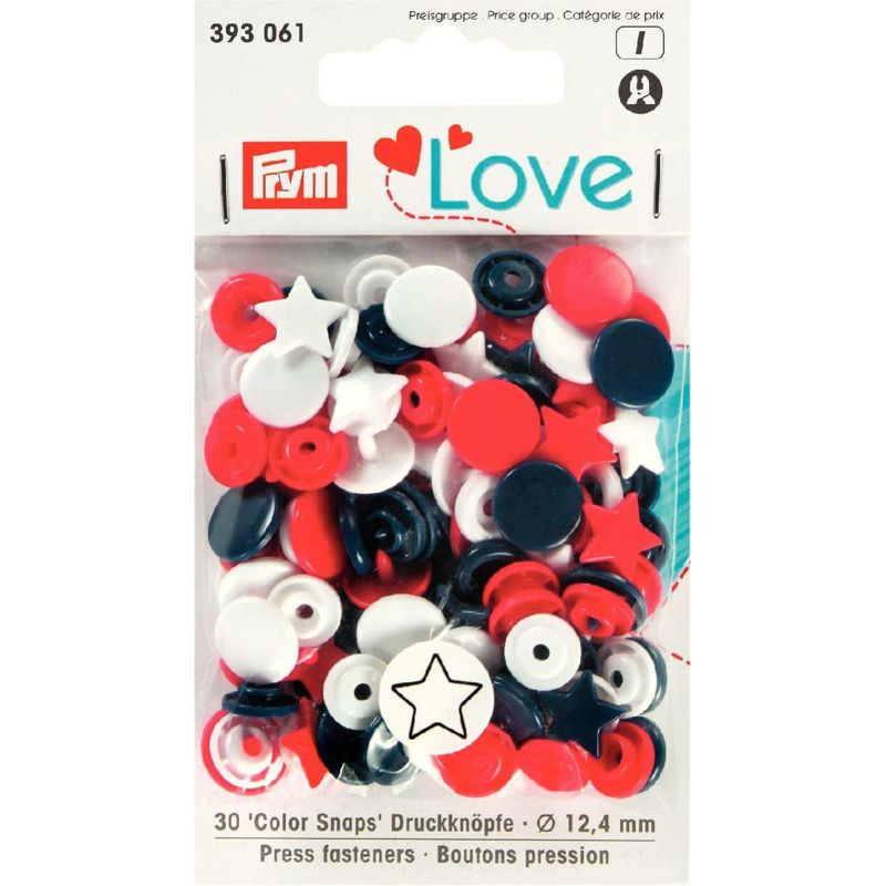 Kamsnaps Prym Love Color ster 12,4mm rood, wit en donkerblauw