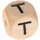 Houten Letterkraal gegraveerd 10mm   - T -