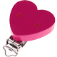 "Speenclip houten hart effen gekleurd Fuchsia ""Babyproof"""