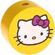 Houten kraal rond ''Hello Kitty'' geel ''babyproof''