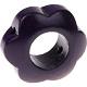 Houten bloemkraal aubergine  ''babyproof''
