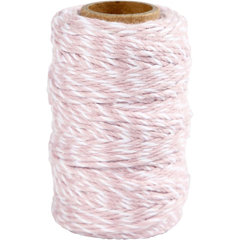 Gestreept katoen koord 1,1mm roze/wit