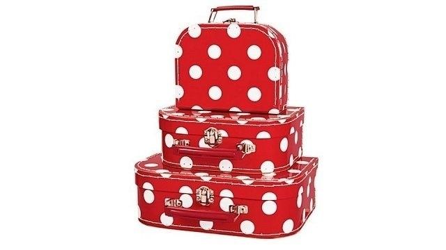 Koffertje Rood met grote witte stippen