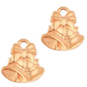Bedels DQ metaal kerstklok rose goud per stuk