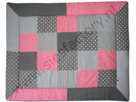 Boxkleed 80x100 cm roze bloemetjes en grijs