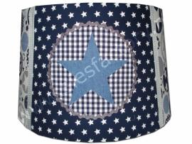 Lampenkap donker blauw, jeans en grijs met ster