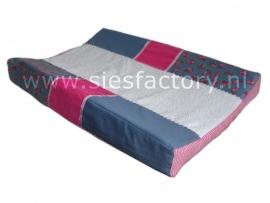 Aankleedkussenhoes jeans / blauw , roze en wit