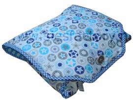 Verschoonmatje en luier-etui in 1  aqua, grijs en kobalt blauw met sterren