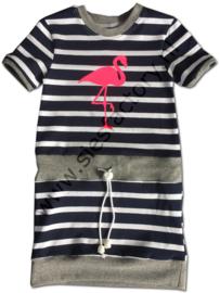 Jurkje donker blauw strepen met grijs en fluor Flamingo 92/98