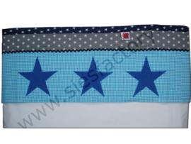 lakentje aqua blauw, donker blauw en grijs met kobalt jeans sterren