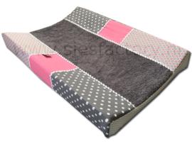 Aankleedkussenhoes zacht / oud roze, grijs en wit stippen en grafische bloemetjes