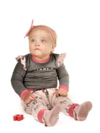Setje zacht roze/perzik met hertjes broekje met bijpassend shirtje 74/80 (excl haarband)
