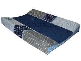 Aankleedkussenhoes licht blauw, donker blauw en grijs