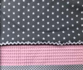 verjaardagskroon en bijpassend T-shirt roze met grijs