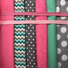 vlaggenlijn roze, grijs en mintgroen