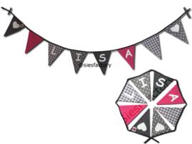 Feestslinger roze  zwart en grijs