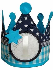 Verjaardagskroon aqua blauw ruit met donker blauw sterren