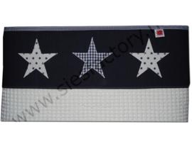 Lakentje voor ledikant basis wit met spijkerstof rand voorzien van sterren