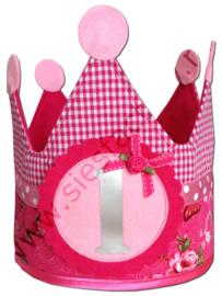 Verjaardagskroon hard en zacht roze met grijs
