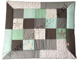 Boxkleed zacht mintgroen, grijs en wit retro blokverdeling