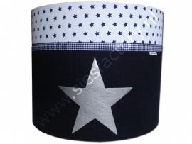 Cilinder lampenkap jeans (spijkerstof), donker blauw,  wit met zilveren ster